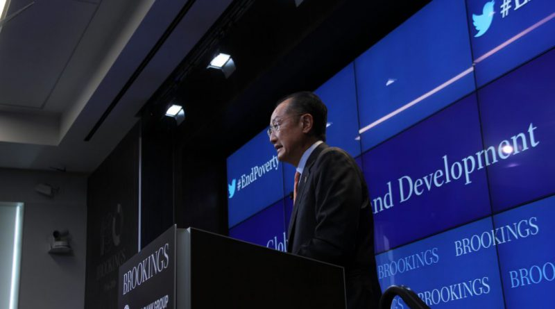 World Bank President Kim speaks at the Brookings Institute before the annual World Bank and IMF conference in Washington (DAVID GERNON/MNS).