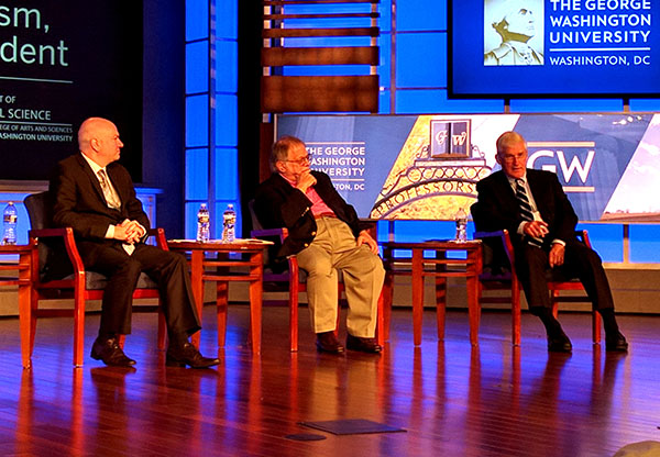 The American Conservative editor-at-large Daniel McCarthy, left, moderates a panel discussion with Christopher Layne of Texas A&M, center, and Andrew Bacevich of Boston University. (Photo by Will Racke)